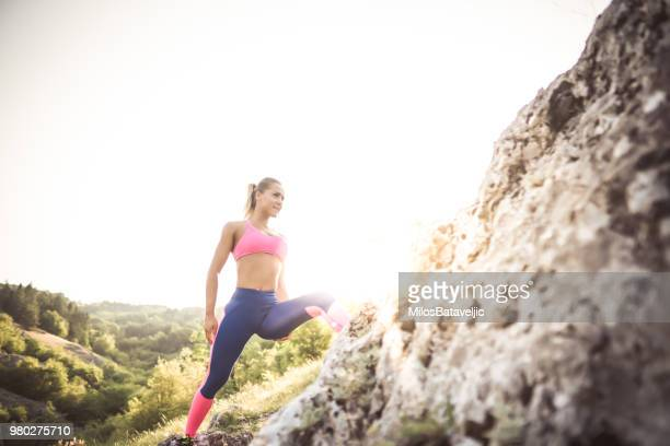 Young girl workout outside