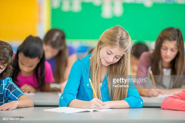 Young Girl Writing an Exam