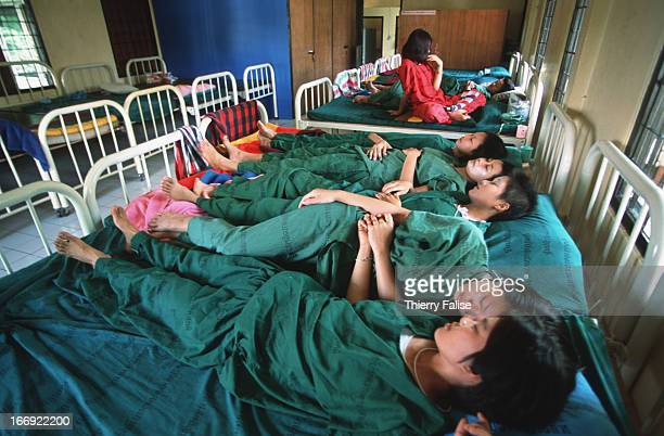 Young girls addicted to yabaa take a rest at the drug treatment center in Mae Rim