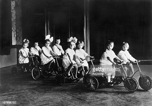 Young girls and boys cycling during the inauguration of the velodrome in 1928 in Leipzig Germany