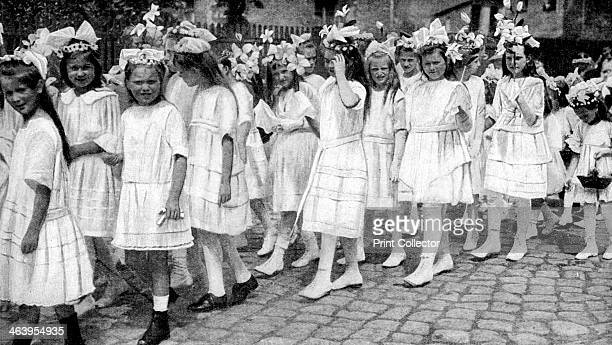 Young girls at a church festival Berlin Germany 12922 From Peoples of All Nations Their Life Today and the Story of Their Past volume IV Georgia to...