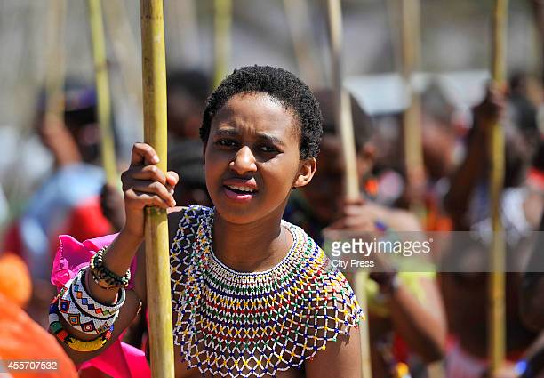 Young girls at the annual reed dance at eNyokeni Royal Palace on September 6 2014 in Nongoma South Africa The Reed dance is a colourful and cultural...