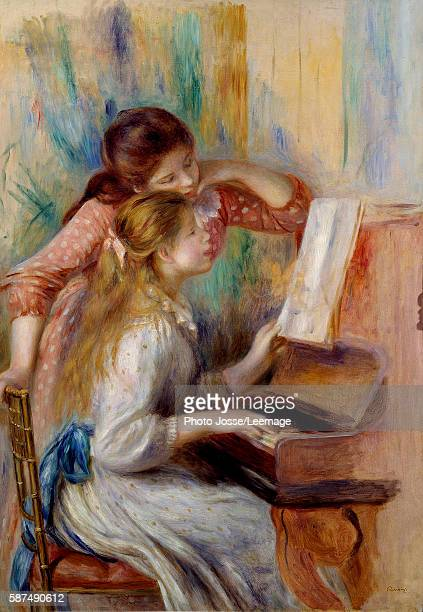 Young girls at the Piano Preparatory study by Pierre Auguste Renoir 1892 116 x 081 m Orangerie Museum Paris
