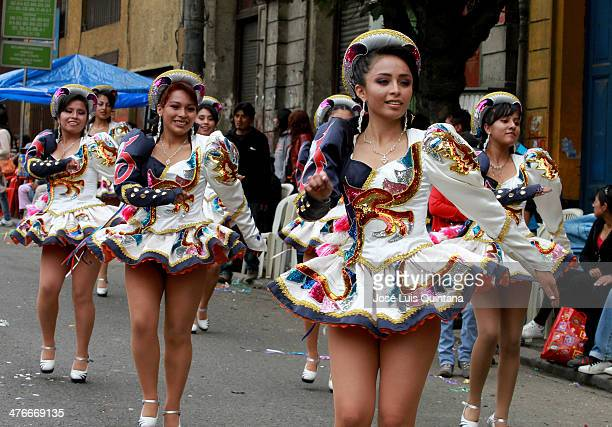 Young girls dance 'Caporal' during the traditional Andean parade Jiska Anata at the beginning of the Festival on March 04 2014 in La Paz Bolivia...
