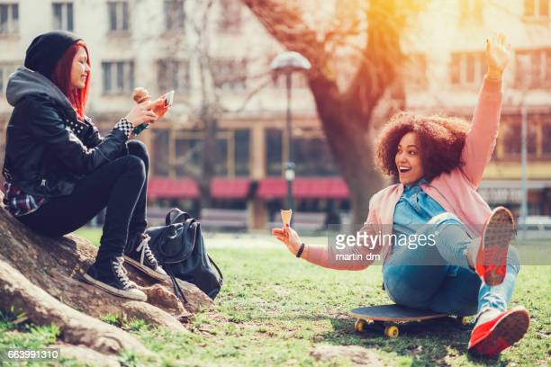 Young girls having fun in the park