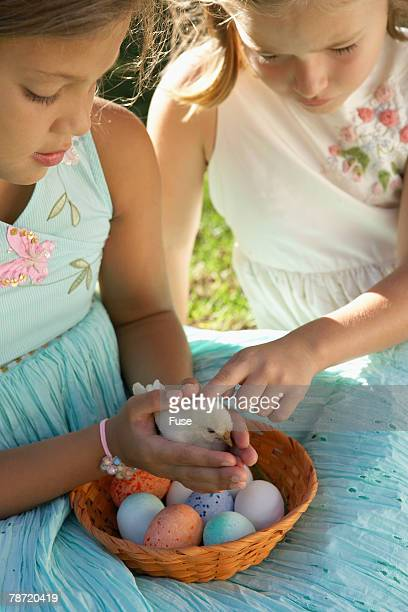 Young Girls Holding a Baby Chick