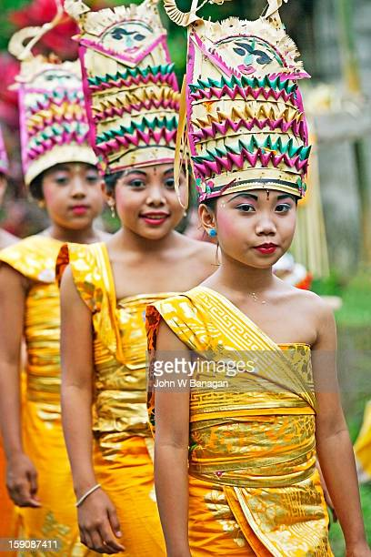 Young girls in temple procession, Mt Agung, Bali