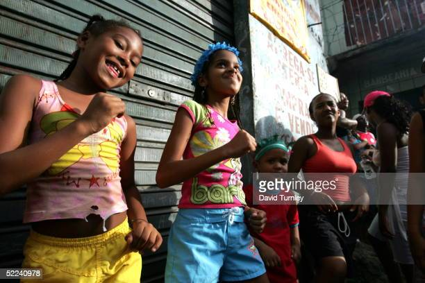 Young girls in the streets during Carnival on February 7 2005 in Salvador Brazil Centuries of slave trade with Central and West Africa has left 40...