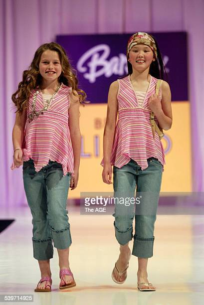 Young girls model on the catwalk for the 'Barbie' by Bettina Liano fashion show in Melbourne 21 September 2005 THE AGE Picture by NICOLE EMANUEL