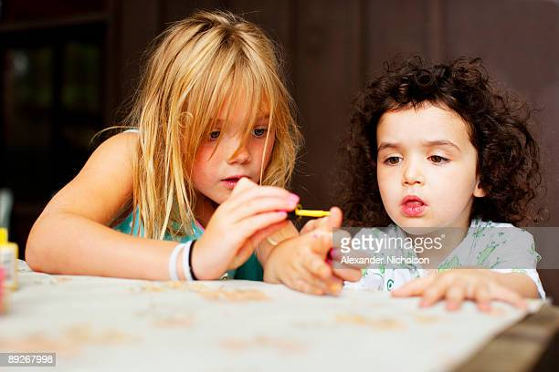 Young girls painting nails