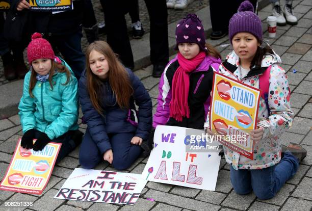 Young girls participate in a demonstration for women's rights on January 21 2018 in Berlin Germany The 2018 Women's March is a planned rally and...