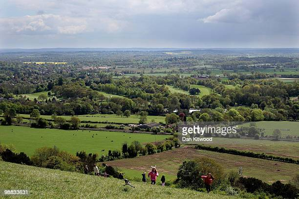 Young girls play on Box Hill overlooking the Surrey countryside on May 3 2010 in Dorking England