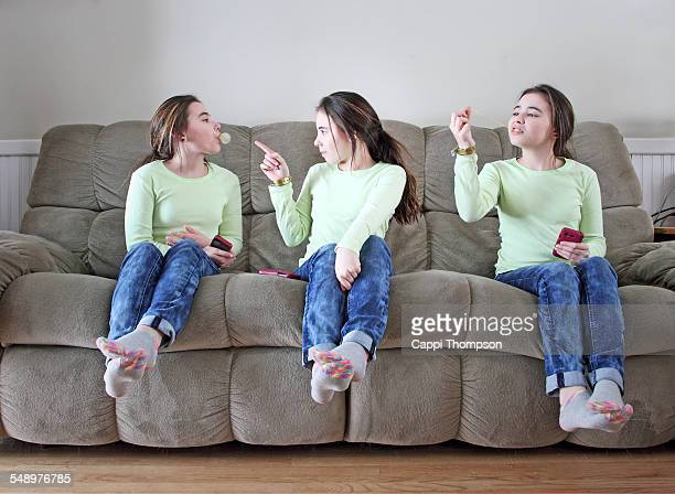 Young girls playing with gum