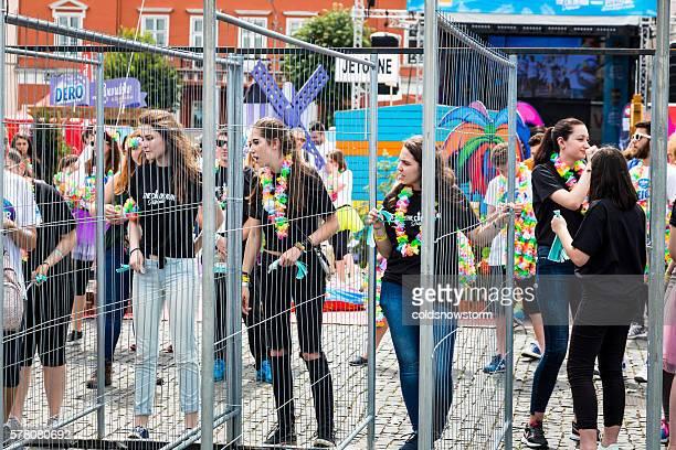 Young girls preparing for Color Run in Cluj-Napoca, Romania