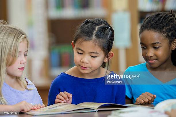 Young Girls Reading Together