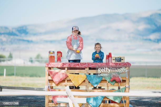 young girls selling lemonade at lemonade stand in usa - initiative stock pictures, royalty-free photos & images