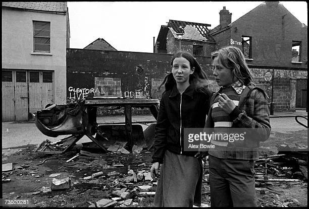 Young girls smoking cigarettes as they hangout in the local neighbourhood around the Protestant Shankill Road in Belfast 21st March 1972