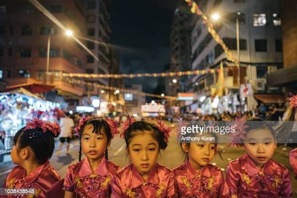 Members of fire dragon team take part during the Tai Hang Fire Dragon Dance Festival on September 23 2018 in Hong Kong Hong Kong In the 19th century...