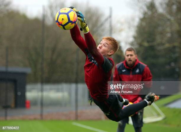 Young goalkeeper Nathan Sheppard during the Swansea City Training at The Fairwood Training Ground on November 22 2017 in Swansea Wales