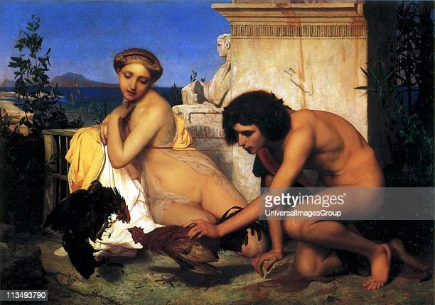Young Greeks at a Cockfight painted in 1846 by Jean Leon Gerome French artist Musee d'Orsay Paris