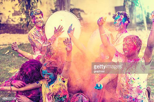 Young Group of Friends Celebrating Holi Festival