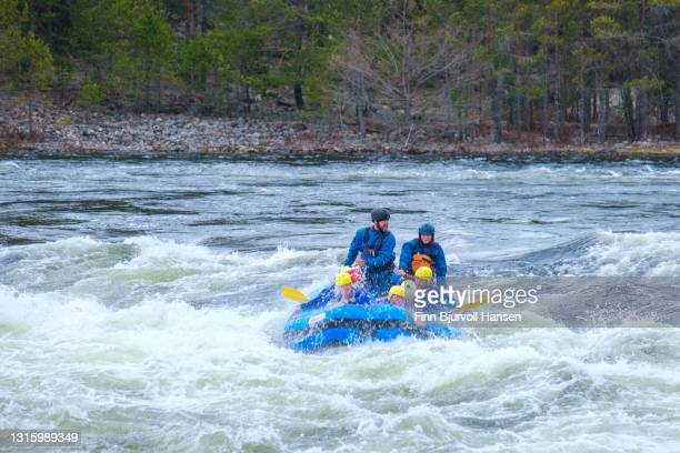 young group rafting the river of otra in evje, setesdalen norway - finn bjurvoll stock pictures, royalty-free photos & images