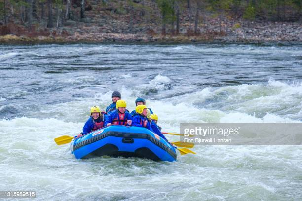 young group rafting the river of otra in evje, setesdalen norway - finn bjurvoll foto e immagini stock