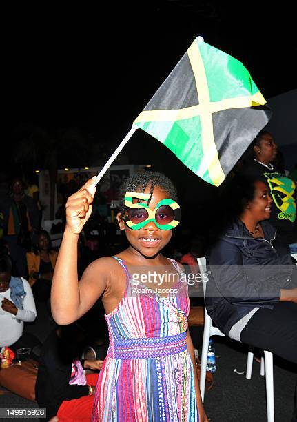 A young guest wears sunglasses to celebrate Jamaica's 50 years of Independence as she attends Jamaica House at O2 Arena on August 6 2012 in London...