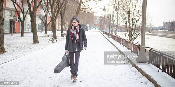 young guitar player - guitar case stock pictures, royalty-free photos & images
