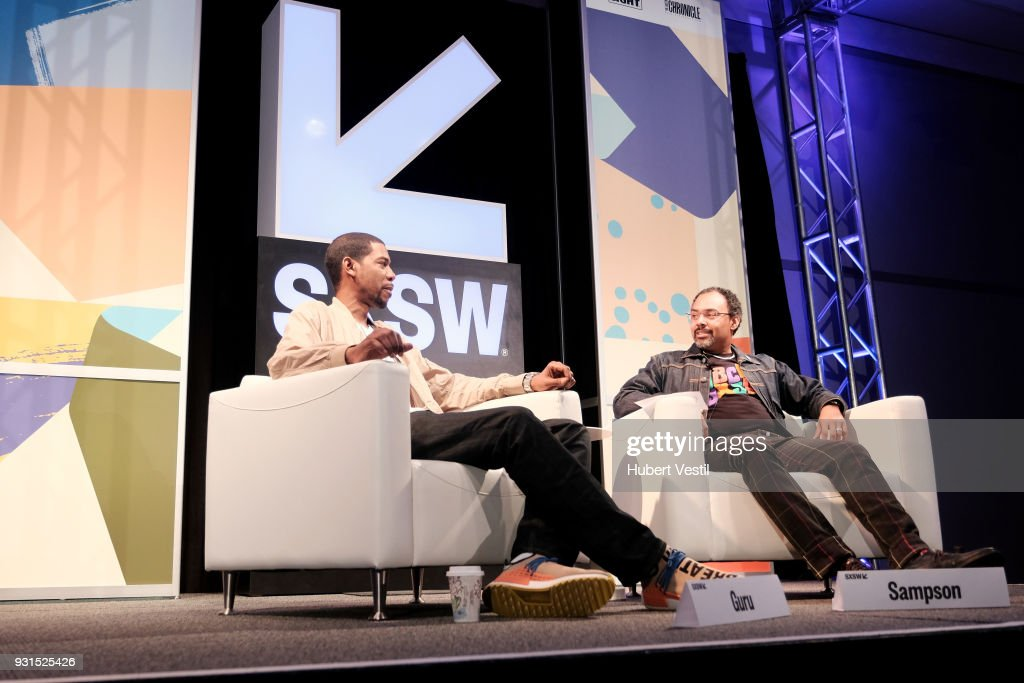 Young Guru (L) and Rodney Sampson speak onstage at Music Tech: A Gateway to Awaken America's Youth with Young Guru during SXSW at Austin Convention Center on March 13, 2018 in Austin, Texas.