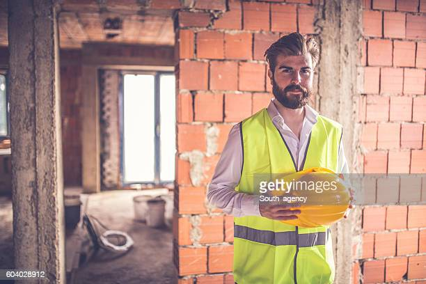 Young handsome construction worker