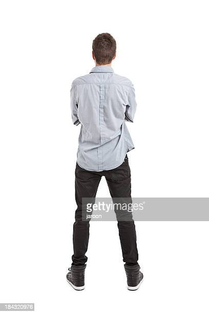 young handsome man - rear view stock pictures, royalty-free photos & images