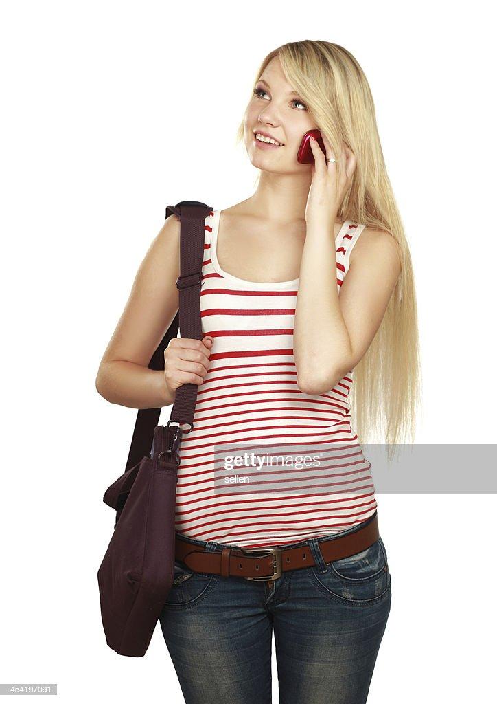 Feliz joven mujer caucásica se llama : Foto de stock