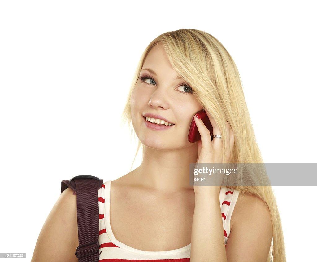 Jovem mulher caucasiana feliz está a ligar : Foto de stock