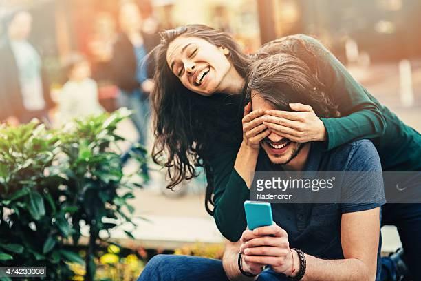 Young happy couple having fun