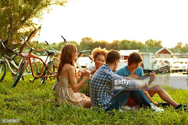 Young Happy Couples Having Fun Outdoors.