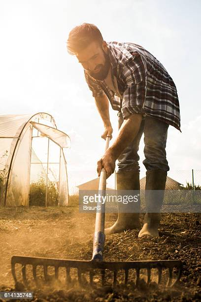 Young happy farmer working with a rack on a field.
