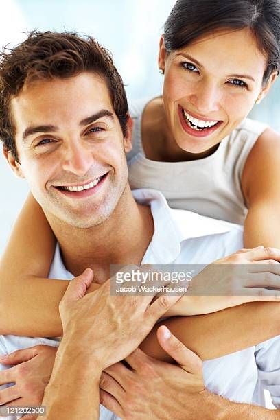 Young happy man and woman couple in love