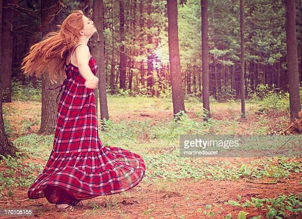 "young happy woman dancing in the morning nature. - ""martine doucet"" or martinedoucet stockfoto's en -beelden"
