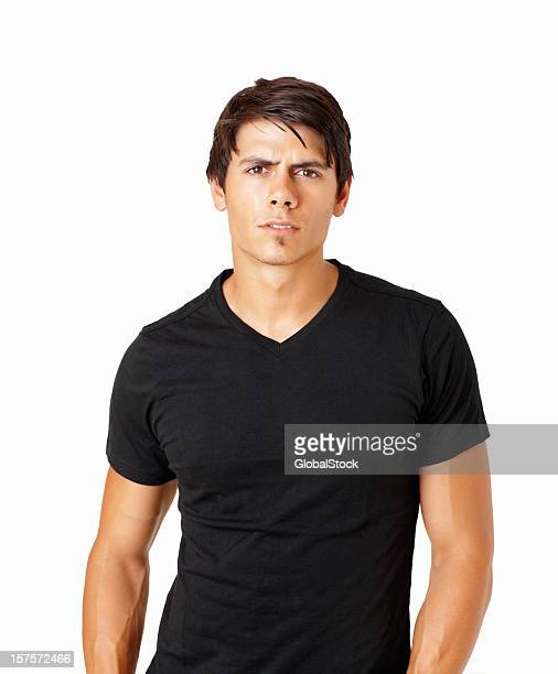 Young healthy guy showing attitude against white