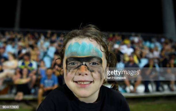 A young Heat fan shows her support during the Women's Big Bash League match between the Brisbane Heat and the Melbourne Stars on January 13 2018 in...