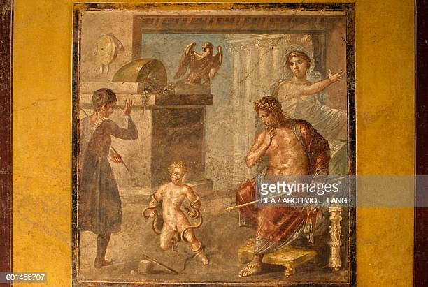 Young Heracles strangling the snakes, fresco from the oecus in the House of the Vettii, Pompeii , Campania, Italy. Roman civilisation, 1st century AD.