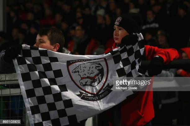 Young Hereford fans look on during the Emirates FA Cup second round replay match between Hereford FC and Fleetwood Town at Edgar Street on December...