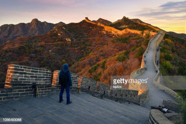 young hiker at great wall ,beijing,china - unesco stock pictures, royalty-free photos & images