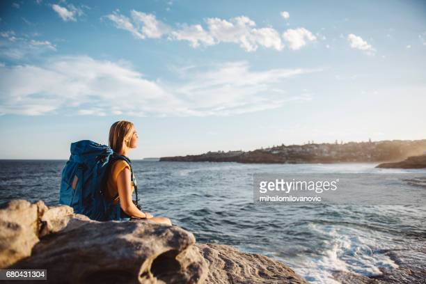 young hiker girl - passenger craft stock pictures, royalty-free photos & images