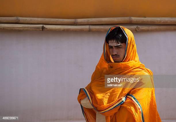 Young Hindu man portrait in Haridwar, during Kumb Mela 2010