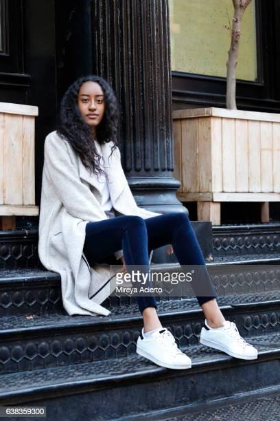 Young, hip Muslim female model in urban setting