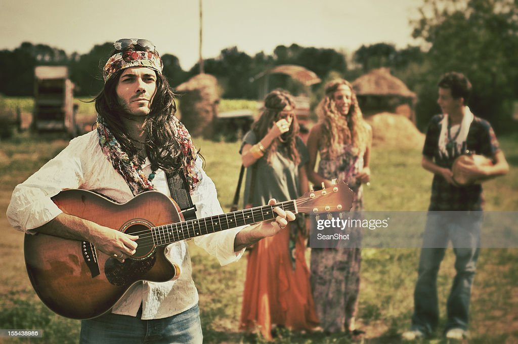 Young Hippies. 1970s style. : Stock Photo