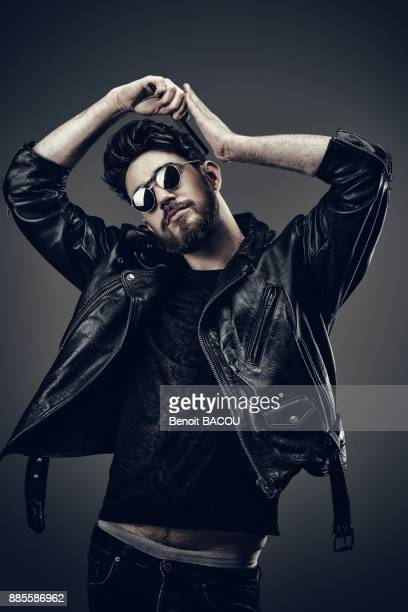 Young Hipster leather jacket, Hairdo