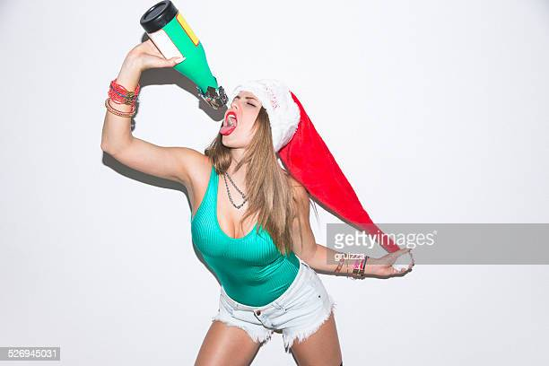 Young hipster woman having fun on a party